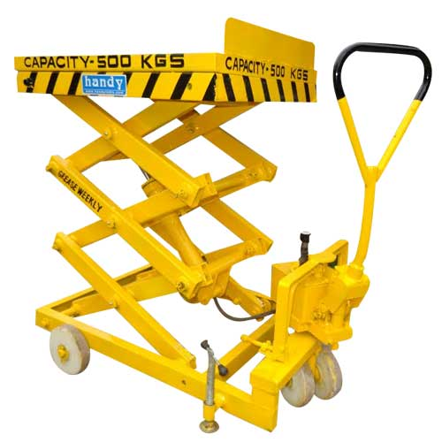 JET Hydraulic Manual Mobile Scissor Lifting Platform Goods Lift